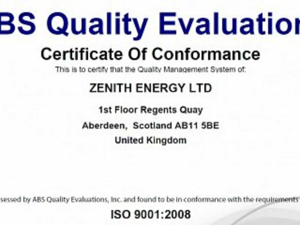 Zenith Energy gains ISO 9001:2008 accreditation